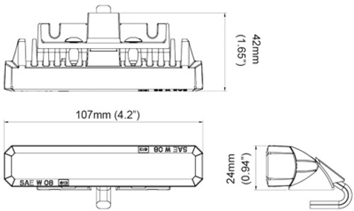 Line Drawing - LE6SHAW - Amber & White Strobe Light LE6S Series. Hood Mount. A Tough and Bright Unit. Our Top Selling Larger Strobe Module – LE6 Series. Our customers feedback is – Assume Bright Strobe Lights! Roadvision. Ultimate LED.