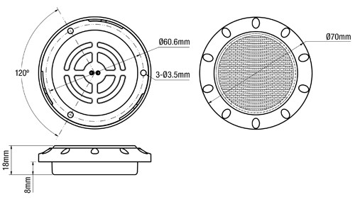 Line Drawing - IL70 - Interior & Exterior LED Light. Round. 12V. White Bezel. Single Pack. RV. Ultimate LED