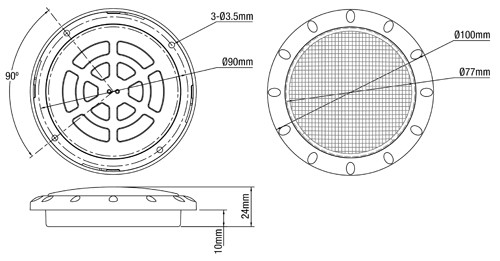 Line Drawing -  IL100 - LED Interior & Exterior Light. 150 Lm. White Bezel. Round. 12V. Single Pack. RV. Ultimate LED