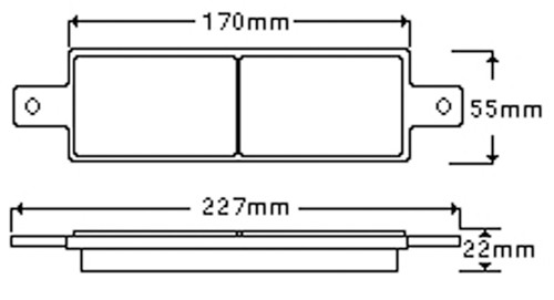 Line Drawing For the RVFB Series Front Bull Bar Lights.