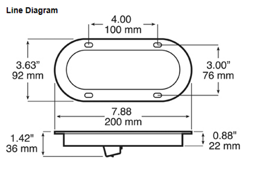 1223 Series - Dimensions: Light - 165 x 57 x 36mm. With Flange 200 x 92 x 36.