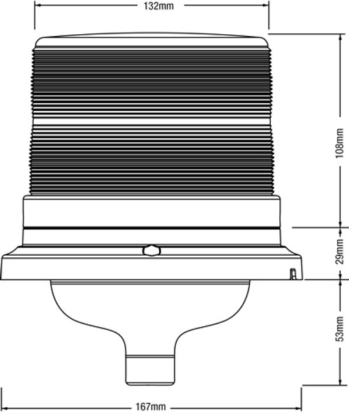 RB165 Series Line Drawing. Emergency LED Beacon Pole Mount. Ultimate LED
