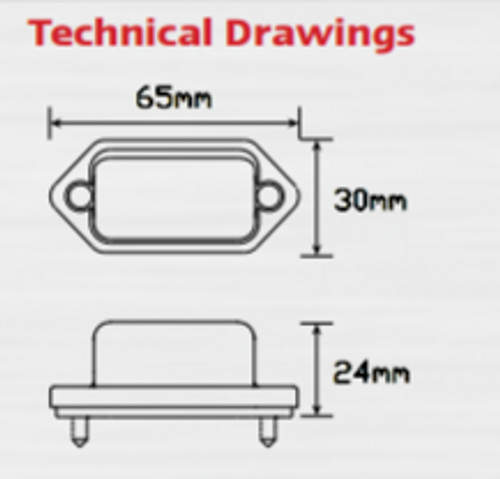Line Drawing - 30BLM - Licence Plate Lamp Light with Black Base, Compact Design, Low Profile Multi-Volt 12v & 24v Twin Pack. LED Auto Lamps. Ultimate LED.
