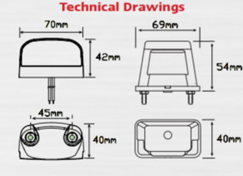 Line Drawing - 41BLM - Licence Plate Lamp Light with Black Base. Multi-Volt 12v & 24v  Single Light Pack. AL. Ultimate LED.