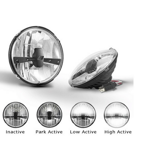 HL175 - 7inch Sealed Beam Headlamp Low & High Beam with Park Function. Multi-Volt 10v & 32v Blister Twin Pack. LED Auto Lamps.  Ultimate LED.