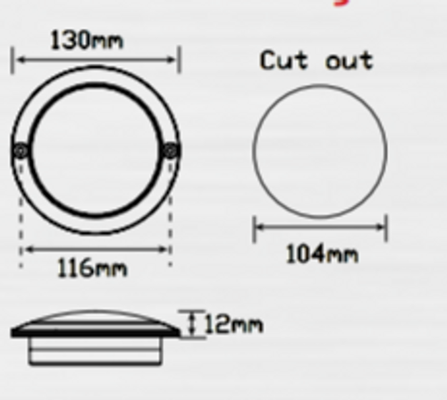 Line Drawing - 102R - Stop Tail Round Light Coloured Lens Multi-Volt 12v & 24v Single Pack. AL. Ultimate LED.