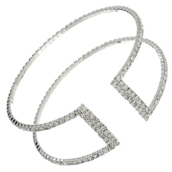 Double Row Rhinestone Cuff(Silver,Gold)