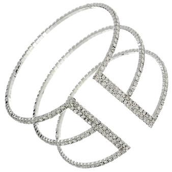 Triple Row Rhinestone Cuff(Silver,Gold)
