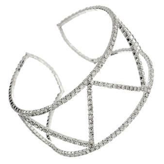 V Shaped Rhinestone Cuff(Silver,Gold)