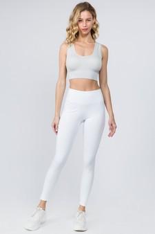 High Waist 5 Pocket Workout Leggings - WHITE