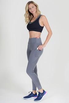 High Waist 5 Pocket Workout Leggings - CHARCOAL