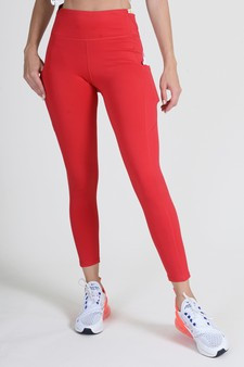 High Waist 5 Pocket Workout Leggings - CRIMSON