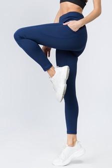 High Waist 5 Pocket Workout Leggings - NAVY BLUE