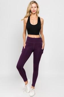 High Waist 5 Pocket Workout Leggings - PURPLE