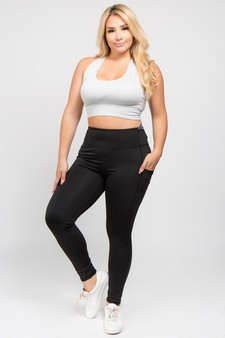High Waist 5 Pocket Workout Leggings - PLUS BLACK