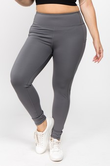 High Waist 5 Pocket Workout Leggings - PLUS CHARCOAL