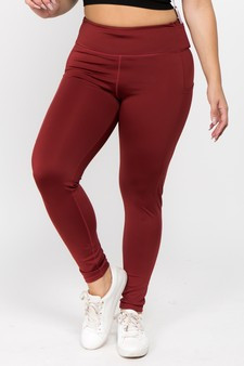 High Waist 5 Pocket Workout Leggings - PLUS WINE RED