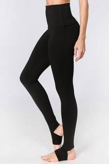 Active High Rise Stirrup Leggings - BLACK