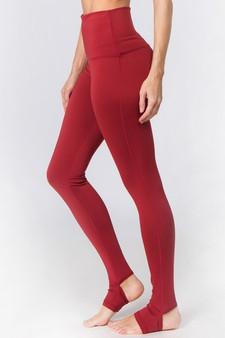 Active High Rise Stirrup Leggings - BRICK RED