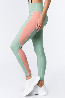 Active Color Block Sports Leggings - DARK SAGE