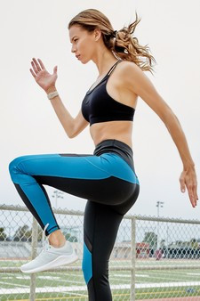 Active High Rise Colorblock Mesh Leggings with Pockets - BLACK/SEA BLUE