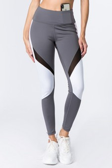 Active High Rise Colorblock Mesh Leggings with Pockets - CHARCOAL/WHITE