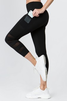 High Rise Mesh Detail Active Leggings with Two Pockets - BLACK