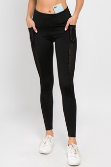 Active Jersey Mesh Striped 3-Pocket Leggings - BLACK