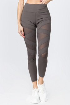 Active Mesh Striped Single Pocket Leggings - CHALCOAL