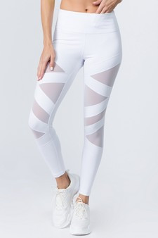 Active Mesh Striped Single Pocket Leggings - BRIGHT WHITE