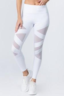 Active Mesh Striped Single Pocket Leggings - BRIGHT WHITE