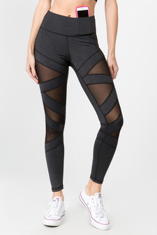 Active Mesh Striped Single Pocket Leggings - HEATHER CHARCOAL