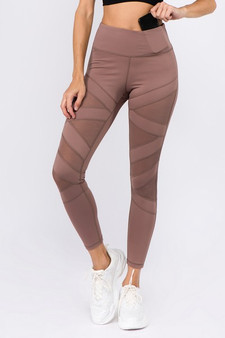 Active Mesh Striped Single Pocket Leggings - SMOKY MAUVE