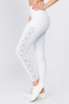 Active Lace-Up Mesh Side Workout Leggings - BRIGHT WHITE