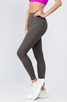 Active Lace-Up Mesh Side Workout Leggings - CHARCOAL