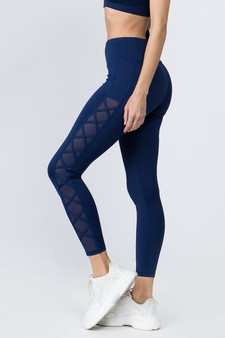 Active Lace-Up Mesh Side Workout Leggings - NAVY BLUE