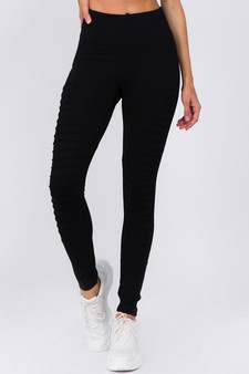 Active High Rise Moto Leggings - BLACK