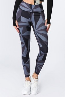 Active High Rise Geo Print Workout Legging - BLACK/GREY