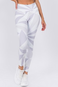 Active High Rise Geo Print Workout Legging - WHITE/GREY