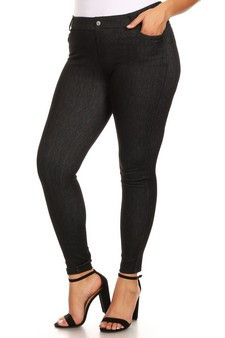 5 Pocket Soft Knit Skinny Jeggings - PLUS BLACK