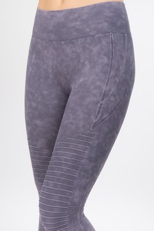 Vintage Wash Moto Detailed Seamless Tights -  Vintage Amethyst