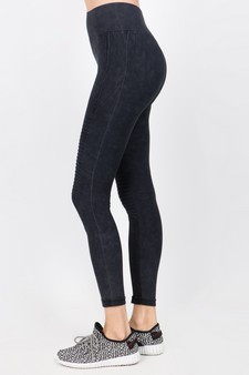 Vintage Wash Moto Detailed Seamless Tights - Vintage Black