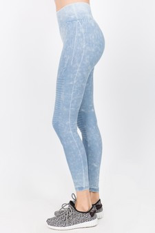 Wash Moto Detailed Seamless Tights - Vintage Blue