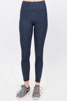 Vintage Wash Moto Detailed Seamless Tights - Vintage Denim Blue