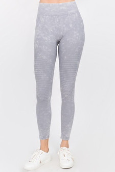 Vintage Wash Moto Detailed Seamless Tights - Vintage Grey