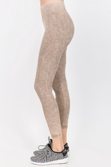 Vintage Wash Moto Detailed Seamless Tights - Vintage Khaki