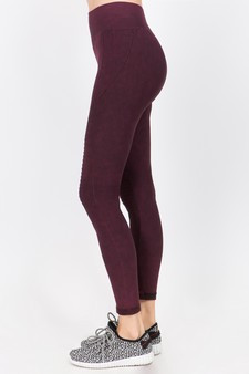Vintage Wash Moto Detailed Seamless Tights - Vintage Wine Red