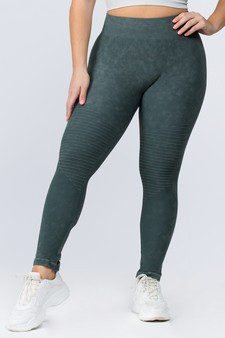 Vintage Wash Moto Detailed Seamless Tights - PLUS ARMY GREEN