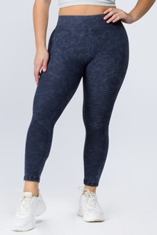 Vintage Wash Moto Detailed Seamless Tights - PLUS DENIM BLUE