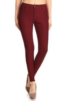 Mid Rise Ponte Knit Skinny Pants - WINE RED